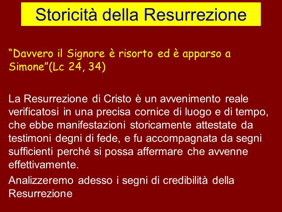 Storicità della Resurrezione Davvero il Signore è risorto ed è apparso a Simone(Lc 24, 34) La Resurrezione di Cristo è un avvenimento reale verificato