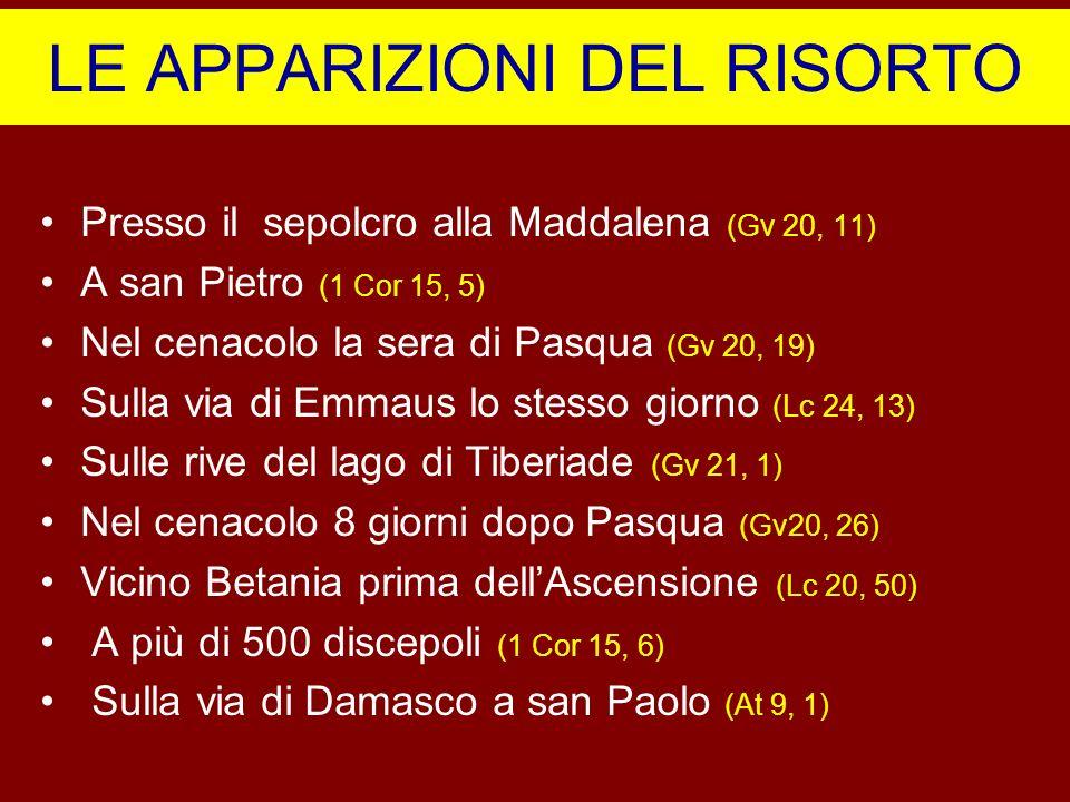 LE APPARIZIONI DEL RISORTO Presso il sepolcro alla Maddalena (Gv 20, 11) A san Pietro (1 Cor 15, 5) Nel cenacolo la sera di Pasqua (Gv 20, 19) Sulla v