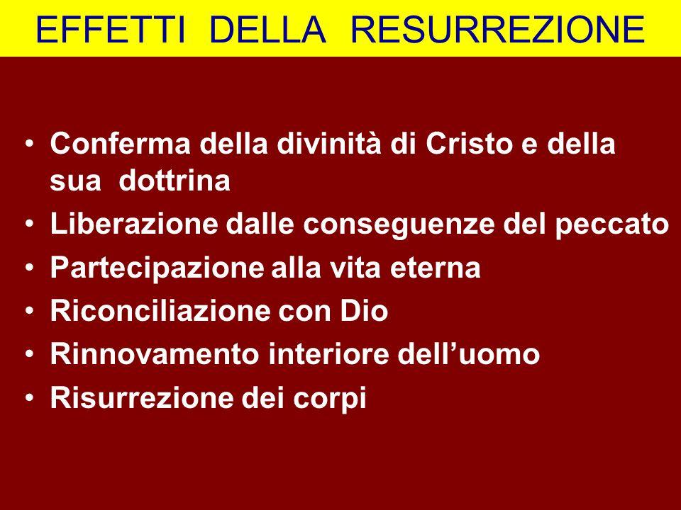 EFFETTI DELLA RESURREZIONE Conferma della divinità di Cristo e della sua dottrina Liberazione dalle conseguenze del peccato Partecipazione alla vita e