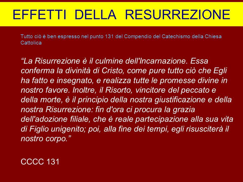 EFFETTI DELLA RESURREZIONE Tutto ciò è ben espresso nel punto 131 del Compendio del Catechismo della Chiesa Cattolica La Risurrezione è il culmine del