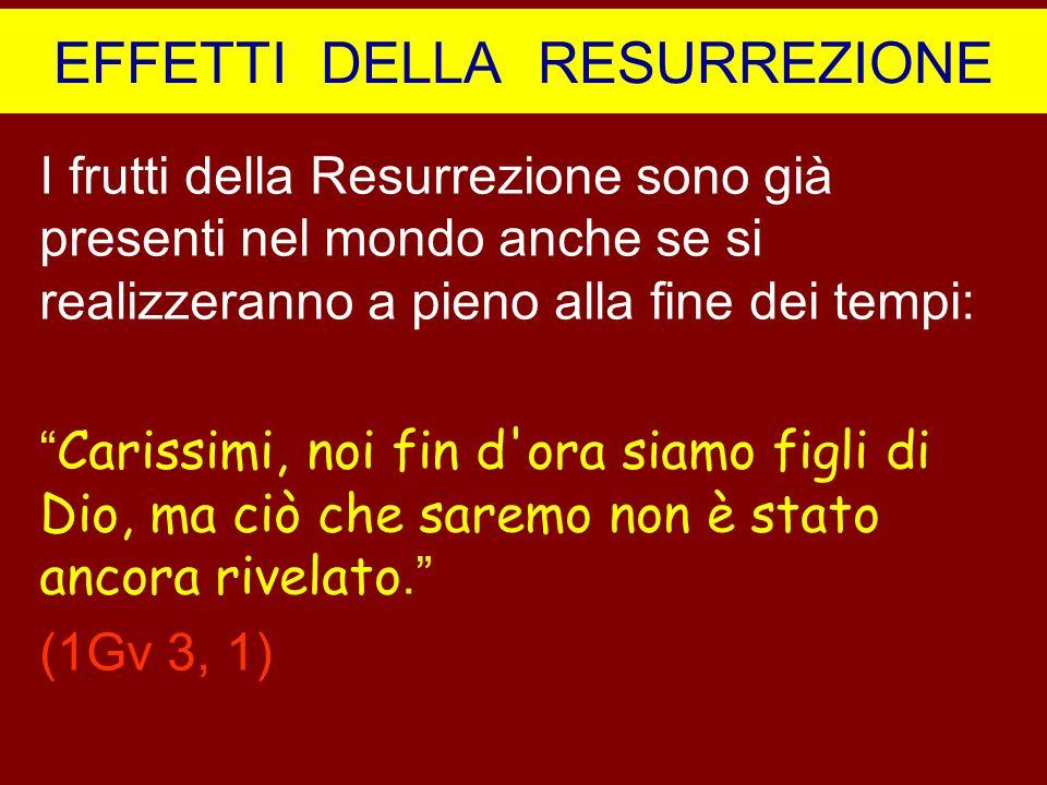 EFFETTI DELLA RESURREZIONE I frutti della Resurrezione sono già presenti nel mondo anche se si realizzeranno a pieno alla fine dei tempi: Carissimi, n