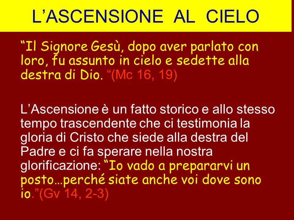 LASCENSIONE AL CIELO Il Signore Gesù, dopo aver parlato con loro, fu assunto in cielo e sedette alla destra di Dio. (Mc 16, 19) LAscensione è un fatto