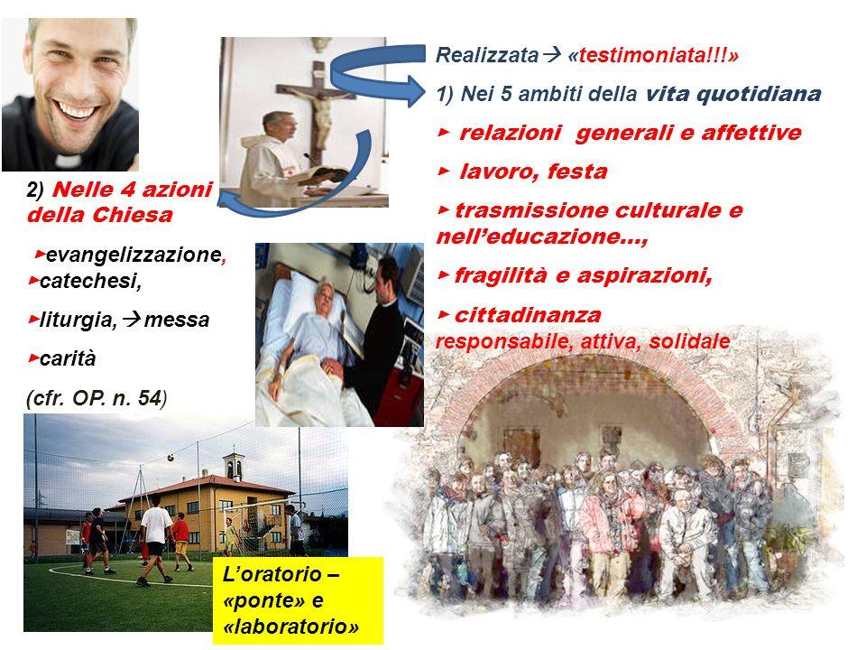 Realizzata «testimoniata!!!» 1) Nei 5 ambiti della vita quotidiana relazioni generali e affettive lavoro, festa trasmissione culturale e nelleducazion