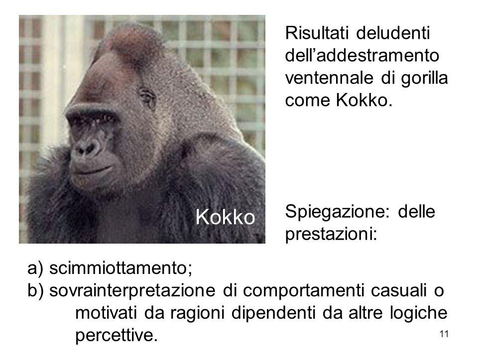 11 Kokko Risultati deludenti delladdestramento ventennale di gorilla come Kokko. Spiegazione: delle prestazioni: a) scimmiottamento; b) sovrainterpret