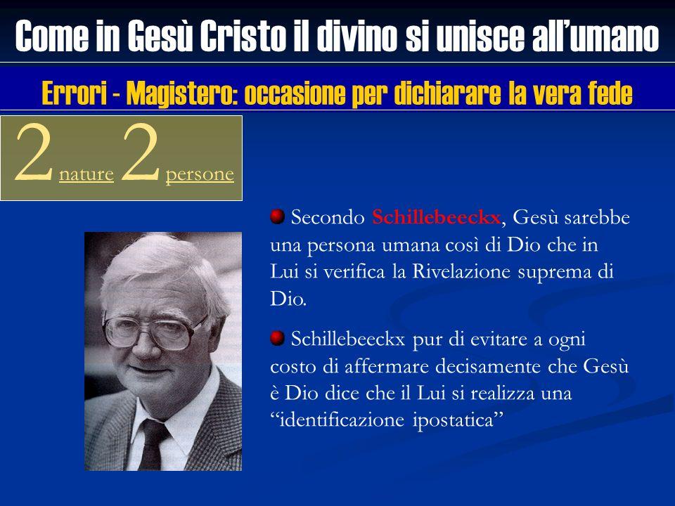 Come in Gesù Cristo il divino si unisce allumano 2 nature 2 persone Secondo Schillebeeckx, Gesù sarebbe una persona umana così di Dio che in Lui si ve