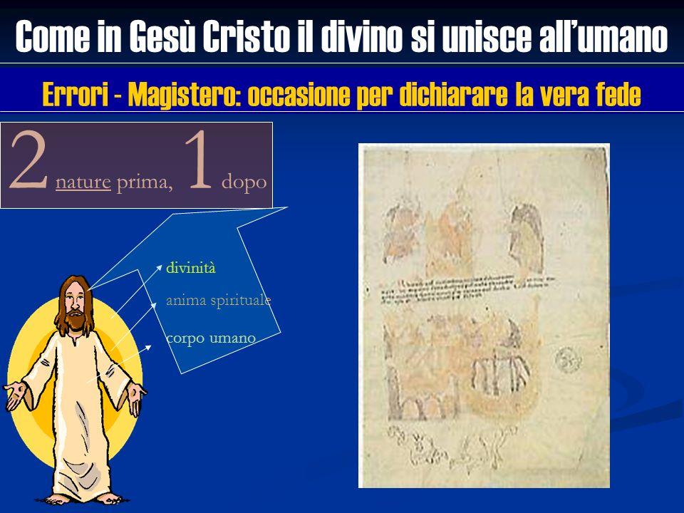 divinità anima spirituale corpo umano 2 nature prima, 1 dopo Come in Gesù Cristo il divino si unisce allumano Errori - Magistero: occasione per dichia