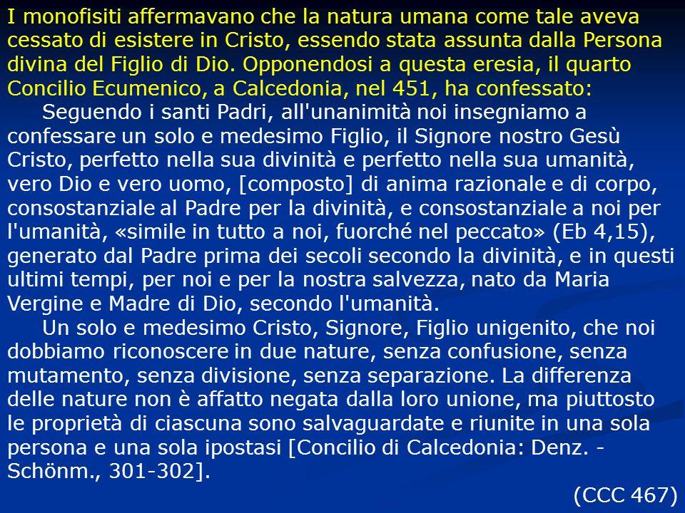 I monofisiti affermavano che la natura umana come tale aveva cessato di esistere in Cristo, essendo stata assunta dalla Persona divina del Figlio di D