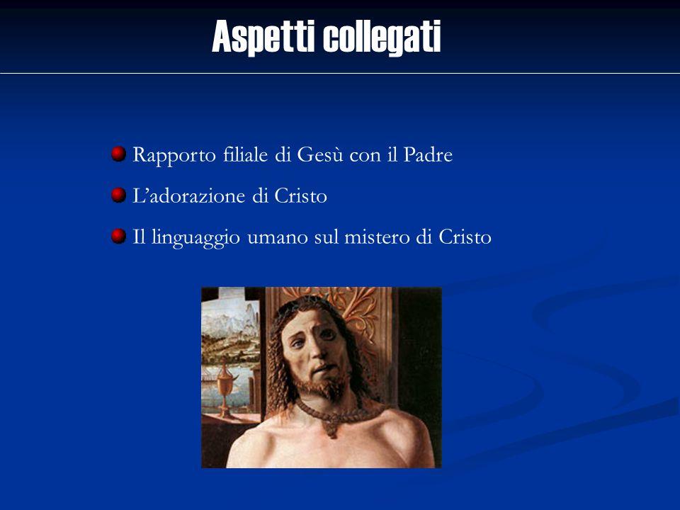 Aspetti collegati Rapporto filiale di Gesù con il Padre Ladorazione di Cristo Il linguaggio umano sul mistero di Cristo