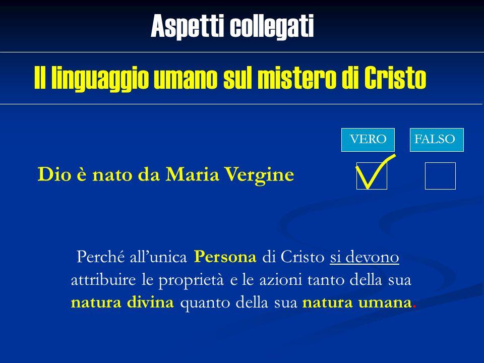 Dio è nato da Maria Vergine Aspetti collegati VEROFALSO Perché allunica Persona di Cristo si devono attribuire le proprietà e le azioni tanto della su