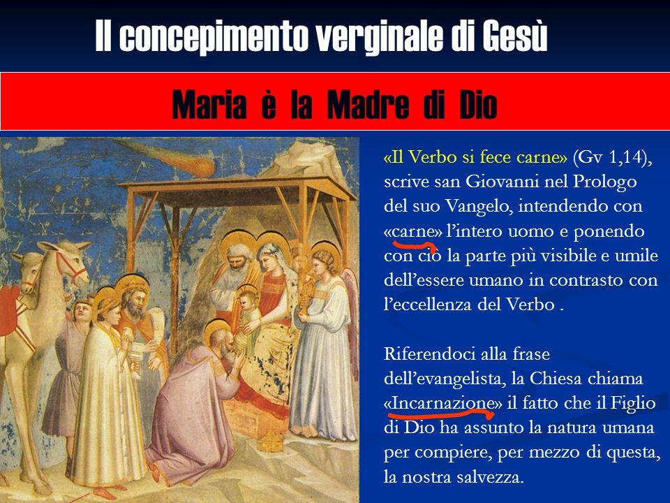 Il concepimento verginale di Gesù Maria è la Madre di Dio «Il Verbo si fece carne» (Gv 1,14), scrive san Giovanni nel Prologo del suo Vangelo, intende