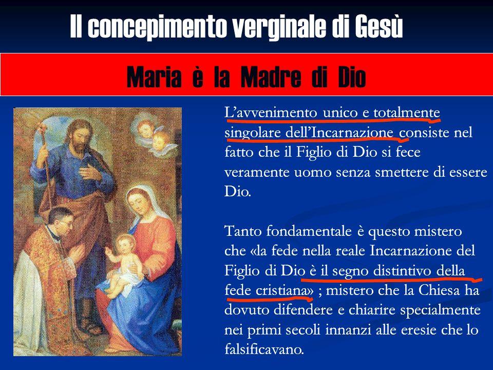 Il concepimento verginale di Gesù Maria è la Madre di Dio Lavvenimento unico e totalmente singolare dellIncarnazione consiste nel fatto che il Figlio