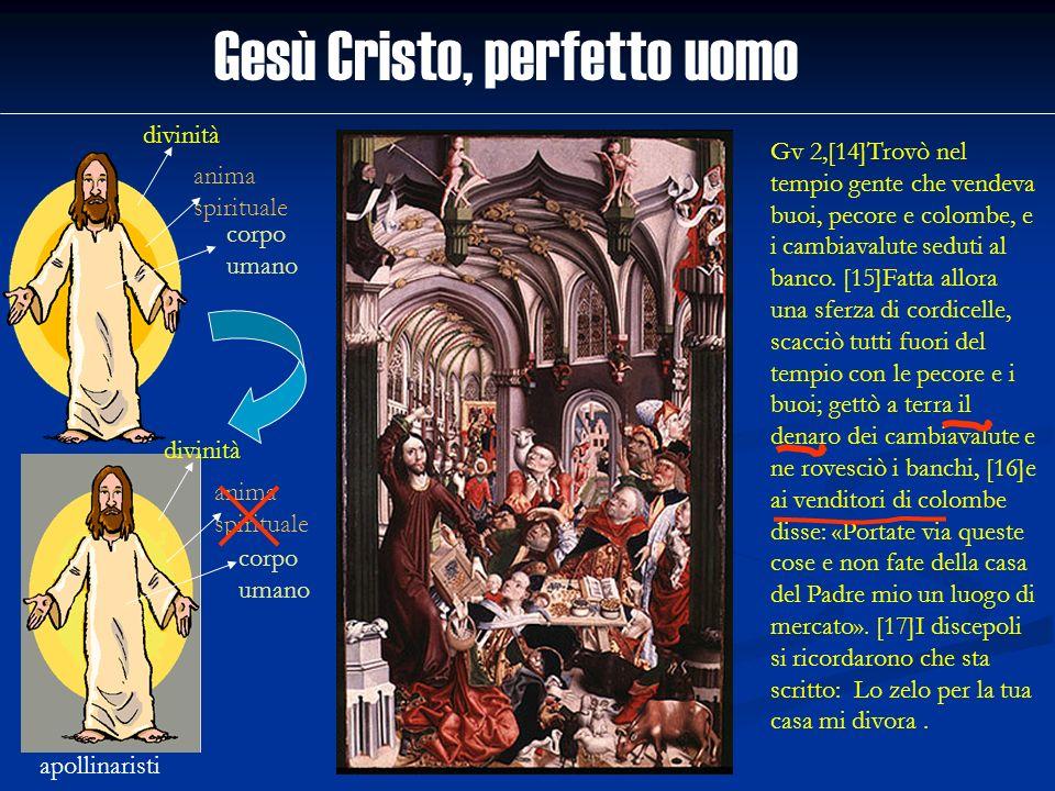 Gesù Cristo, perfetto uomo divinità anima spirituale corpo umano apollinaristi divinità anima spirituale corpo umano Gv 2,[14]Trovò nel tempio gente c