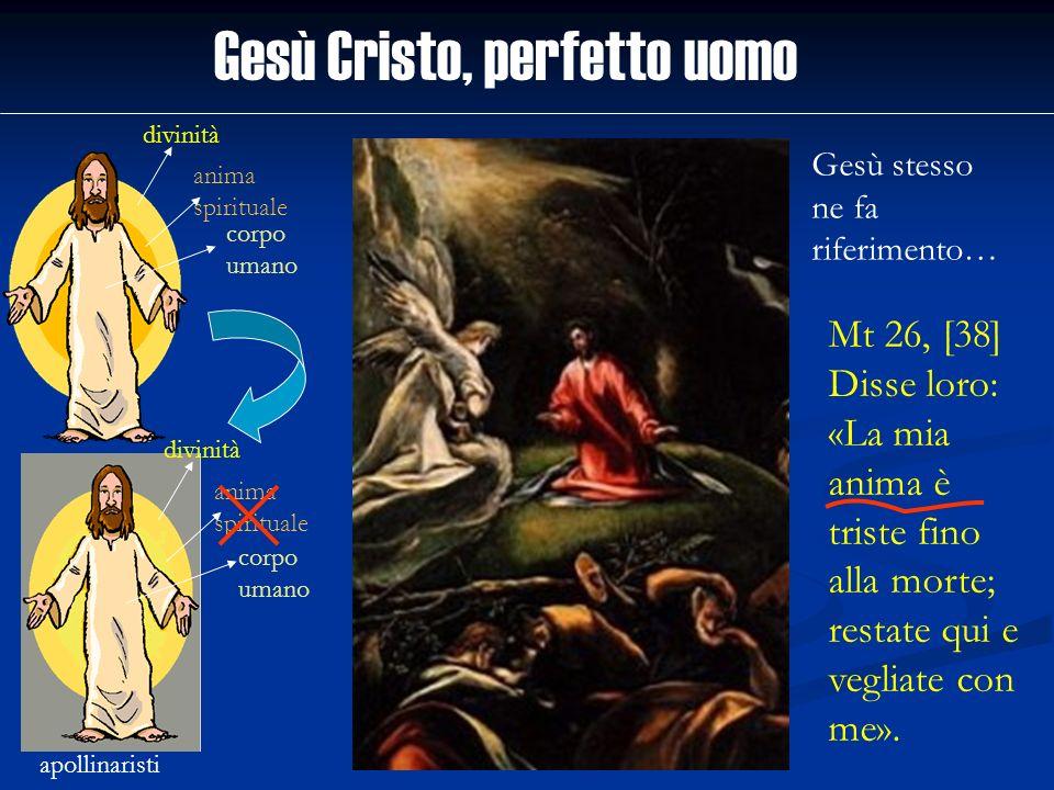 Gesù Cristo, perfetto uomo divinità anima spirituale corpo umano apollinaristi divinità anima spirituale corpo umano Gesù stesso ne fa riferimento… Mt