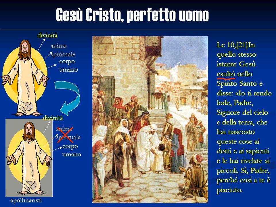 Gesù Cristo, perfetto uomo divinità anima spirituale corpo umano apollinaristi divinità anima spirituale corpo umano Lc 10,[21]In quello stesso istant