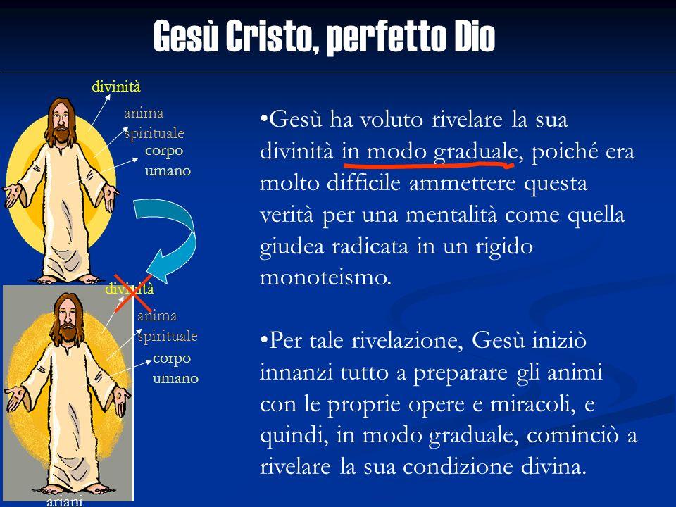 Gesù Cristo, perfetto Dio divinità anima spirituale corpo umano ariani divinità anima spirituale corpo umano Gesù ha voluto rivelare la sua divinità i