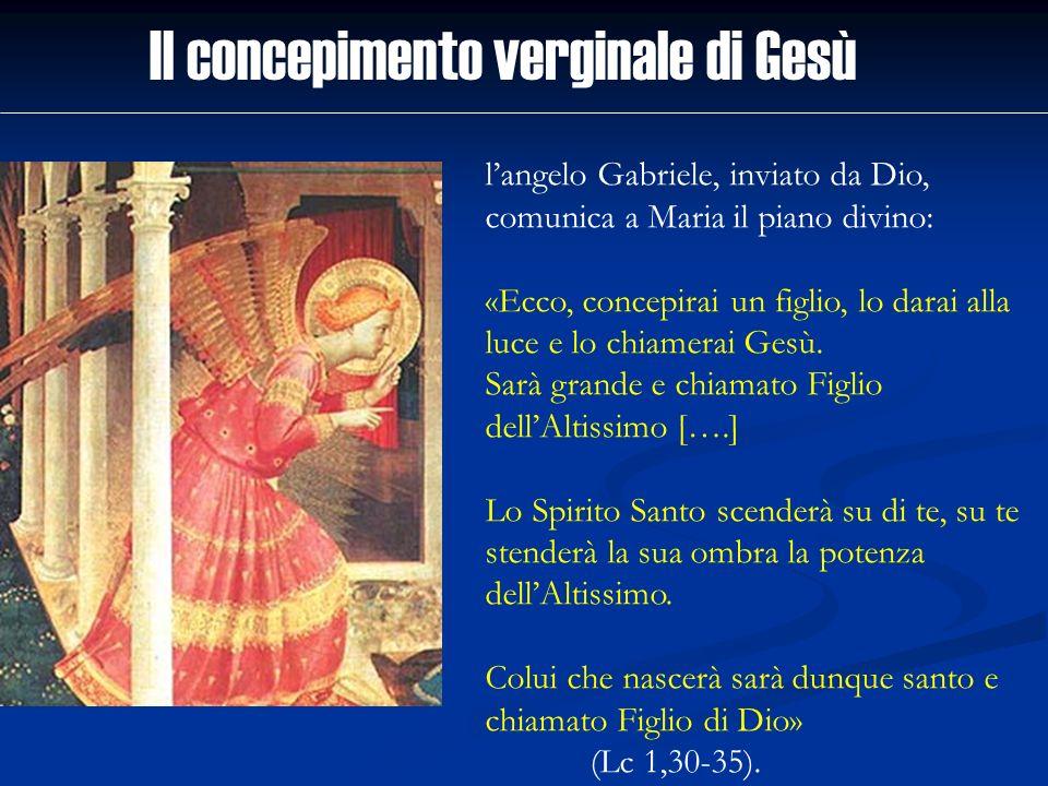 langelo Gabriele, inviato da Dio, comunica a Maria il piano divino: «Ecco, concepirai un figlio, lo darai alla luce e lo chiamerai Gesù. Sarà grande e