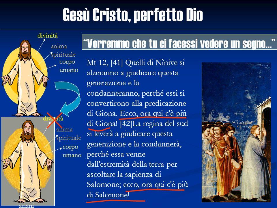 Gesù Cristo, perfetto Dio divinità anima spirituale corpo umano ariani divinità anima spirituale corpo umano Mt 12, [41] Quelli di Nìnive si alzeranno