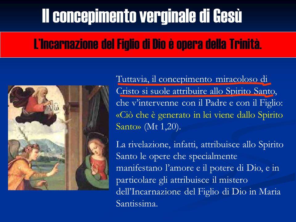 Il concepimento verginale di Gesù LIncarnazione del Figlio di Dio è opera della Trinità. Tuttavia, il concepimento miracoloso di Cristo si suole attri