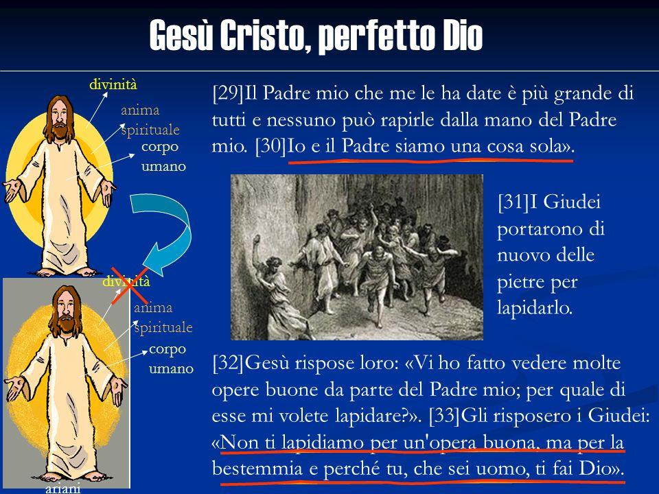 Gesù Cristo, perfetto Dio divinità anima spirituale corpo umano ariani divinità anima spirituale corpo umano [29]Il Padre mio che me le ha date è più