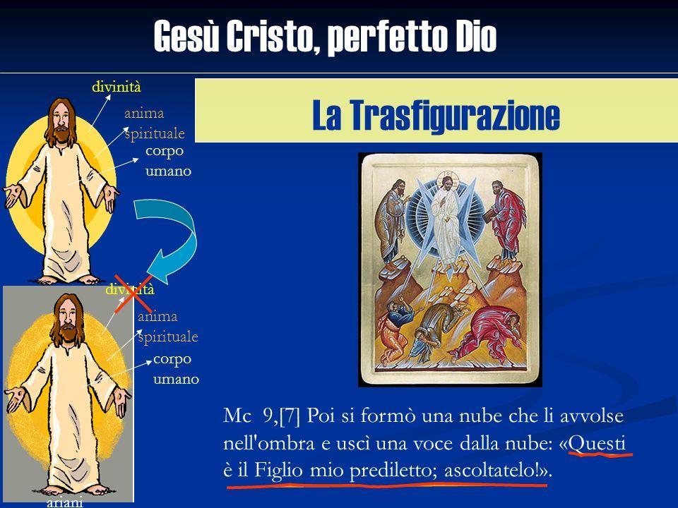 Gesù Cristo, perfetto Dio divinità anima spirituale corpo umano ariani divinità anima spirituale corpo umano Mc 9,[7] Poi si formò una nube che li avv