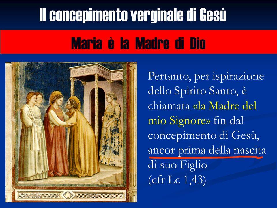 Il concepimento verginale di Gesù Maria è la Madre di Dio Pertanto, per ispirazione dello Spirito Santo, è chiamata «la Madre del mio Signore» fin dal