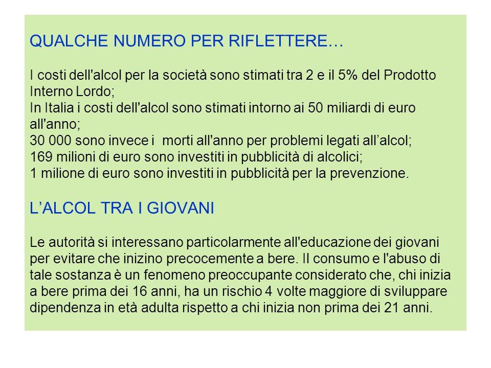 QUALCHE NUMERO PER RIFLETTERE… I costi dell'alcol per la società sono stimati tra 2 e il 5% del Prodotto Interno Lordo; In Italia i costi dell'alcol s