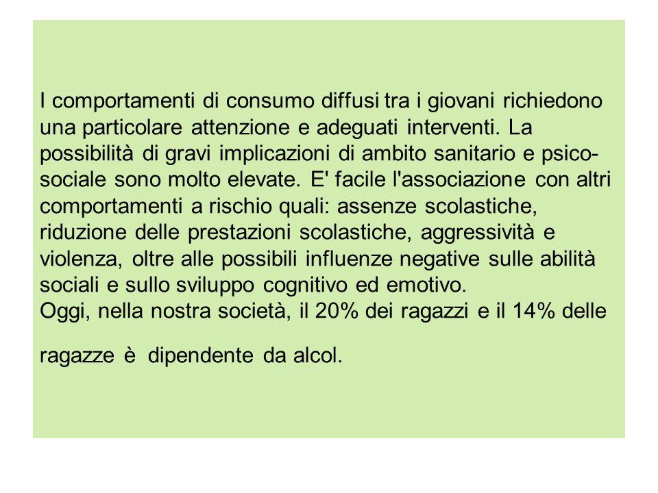 I comportamenti di consumo diffusi tra i giovani richiedono una particolare attenzione e adeguati interventi. La possibilità di gravi implicazioni di