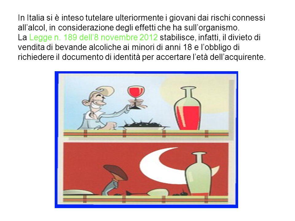In Italia si è inteso tutelare ulteriormente i giovani dai rischi connessi allalcol, in considerazione degli effetti che ha sullorganismo. La Legge n.