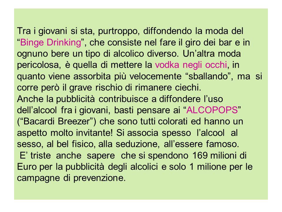 Tra i giovani si sta, purtroppo, diffondendo la moda delBinge Drinking, che consiste nel fare il giro dei bar e in ognuno bere un tipo di alcolico div