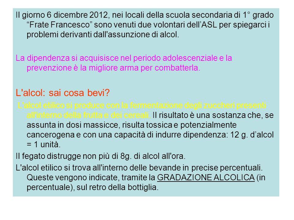 Il giorno 6 dicembre 2012, nei locali della scuola secondaria di 1° grado Frate Francesco sono venuti due volontari dellASL per spiegarci i problemi d