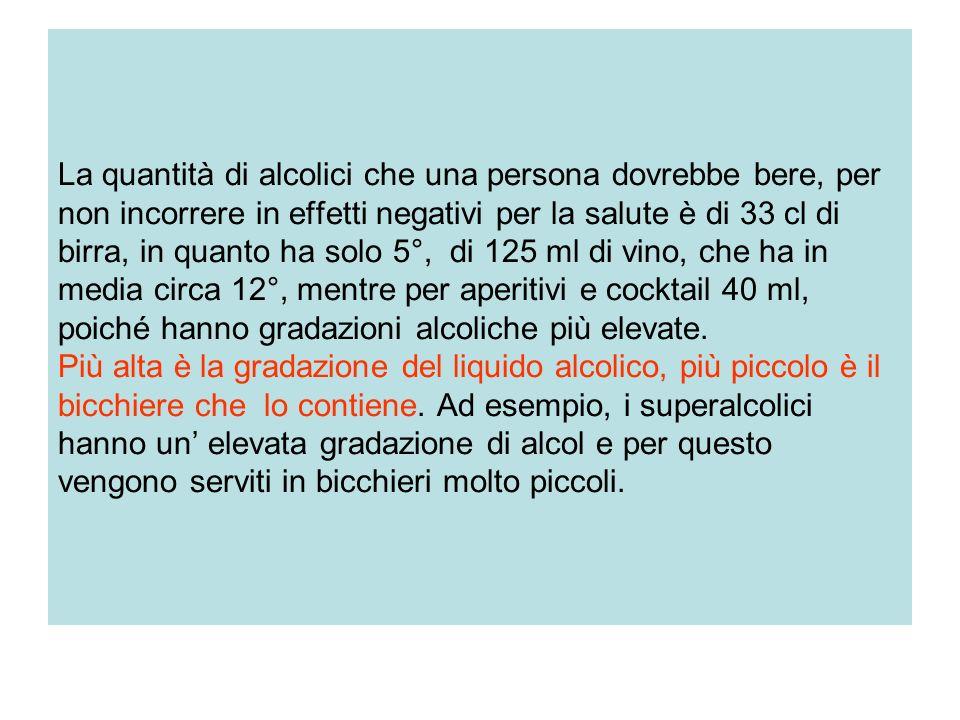 La quantità di alcolici che una persona dovrebbe bere, per non incorrere in effetti negativi per la salute è di 33 cl di birra, in quanto ha solo 5°,