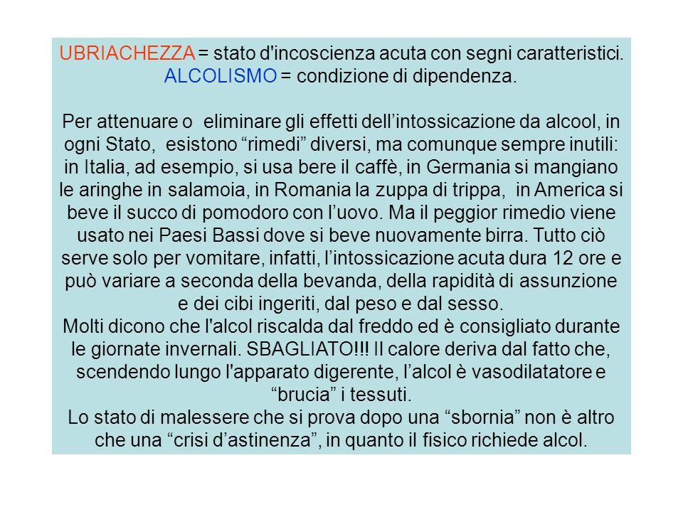 UBRIACHEZZA = stato d'incoscienza acuta con segni caratteristici. ALCOLISMO = condizione di dipendenza. Per attenuare o eliminare gli effetti dellinto