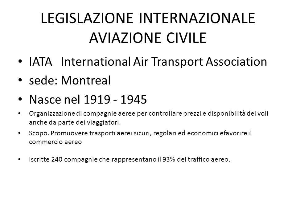 LEGISLAZIONE INTERNAZIONALE AVIAZIONE CIVILE IATA International Air Transport Association sede: Montreal Nasce nel 1919 - 1945 Organizzazione di compa