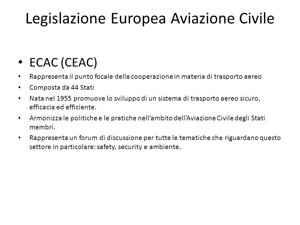 Legislazione Europea Aviazione Civile ECAC (CEAC) Rappresenta il punto focale della cooperazione in materia di trasporto aereo Composta da 44 Stati Na