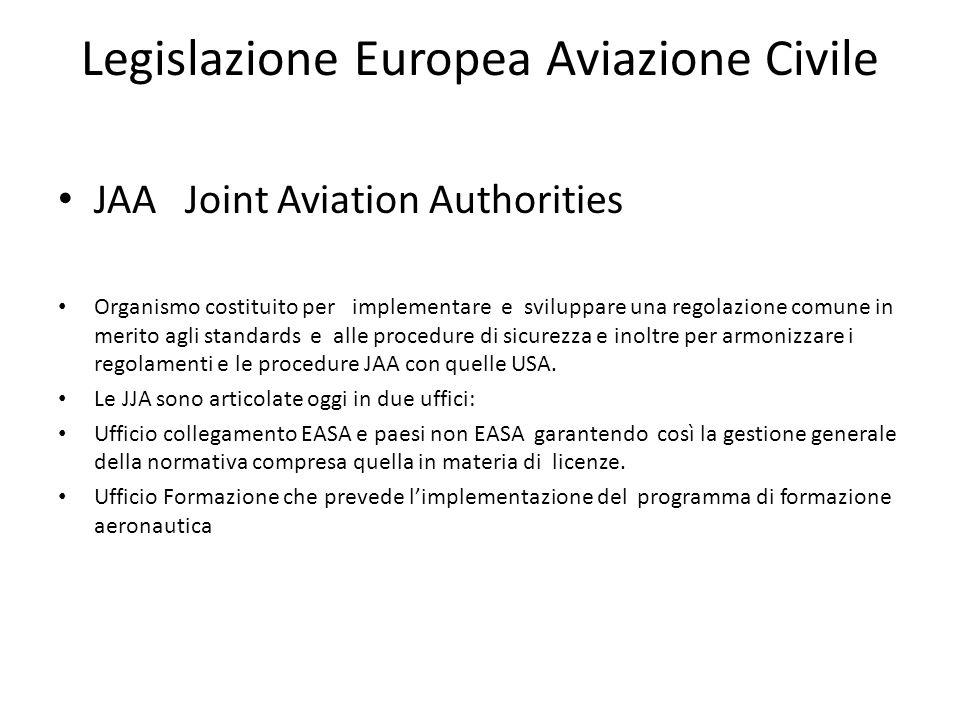Legislazione Europea Aviazione Civile JAA Joint Aviation Authorities Organismo costituito per implementare e sviluppare una regolazione comune in meri