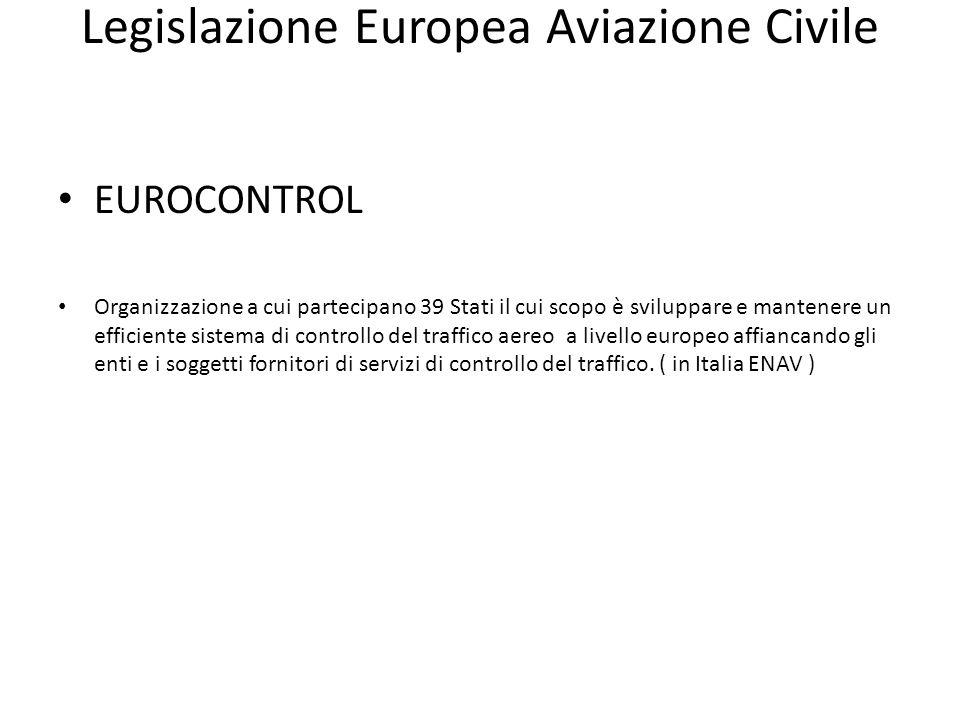Legislazione Europea Aviazione Civile EUROCONTROL Organizzazione a cui partecipano 39 Stati il cui scopo è sviluppare e mantenere un efficiente sistem