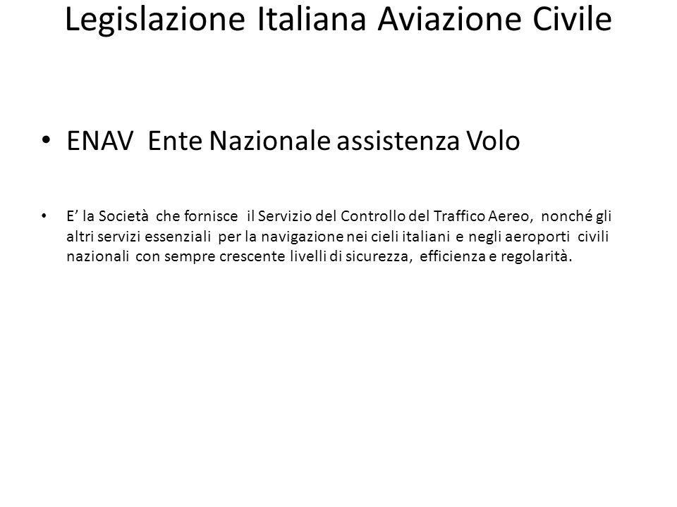 Legislazione Italiana Aviazione Civile ENAV Ente Nazionale assistenza Volo E la Società che fornisce il Servizio del Controllo del Traffico Aereo, non