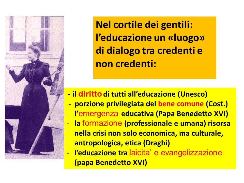 Nel cortile dei gentili: leducazione un «luogo» di dialogo tra credenti e non credenti: - il diritto di tutti alleducazione (Unesco) - porzione privilegiata del bene comune (Cost.) -l emergenza educativa (Papa Benedetto XVI) -la formazione (professionale e umana) risorsa nella crisi non solo economica, ma culturale, antropologica, etica (Draghi) -leducazione tra laicita e evangelizzazione (papa Benedetto XVI)