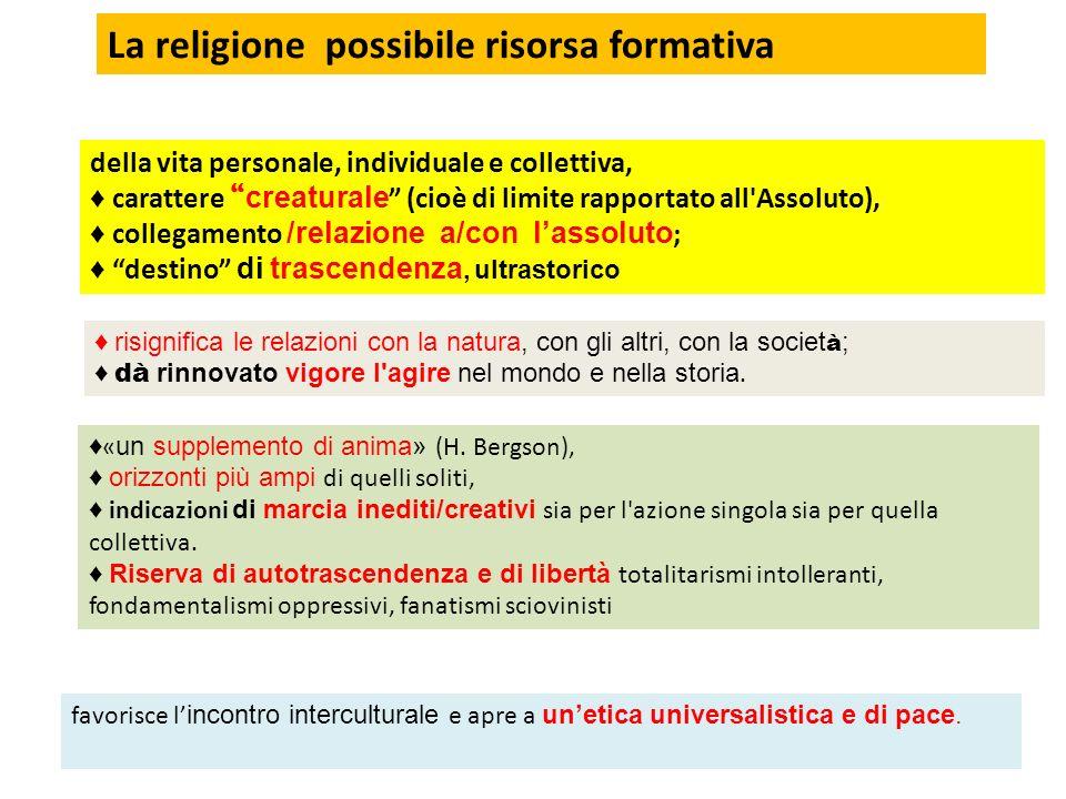 La religione possibile risorsa formativa della vita personale, individuale e collettiva, carattere creaturale (cioè di limite rapportato all'Assoluto)