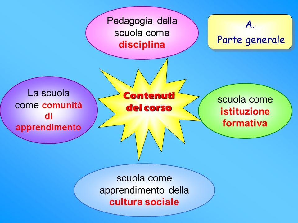 Contenuti del corso scuola come istituzione formativa Pedagogia della scuola come disciplina scuola come apprendimento della cultura sociale La scuola come comunità di apprendimento A.