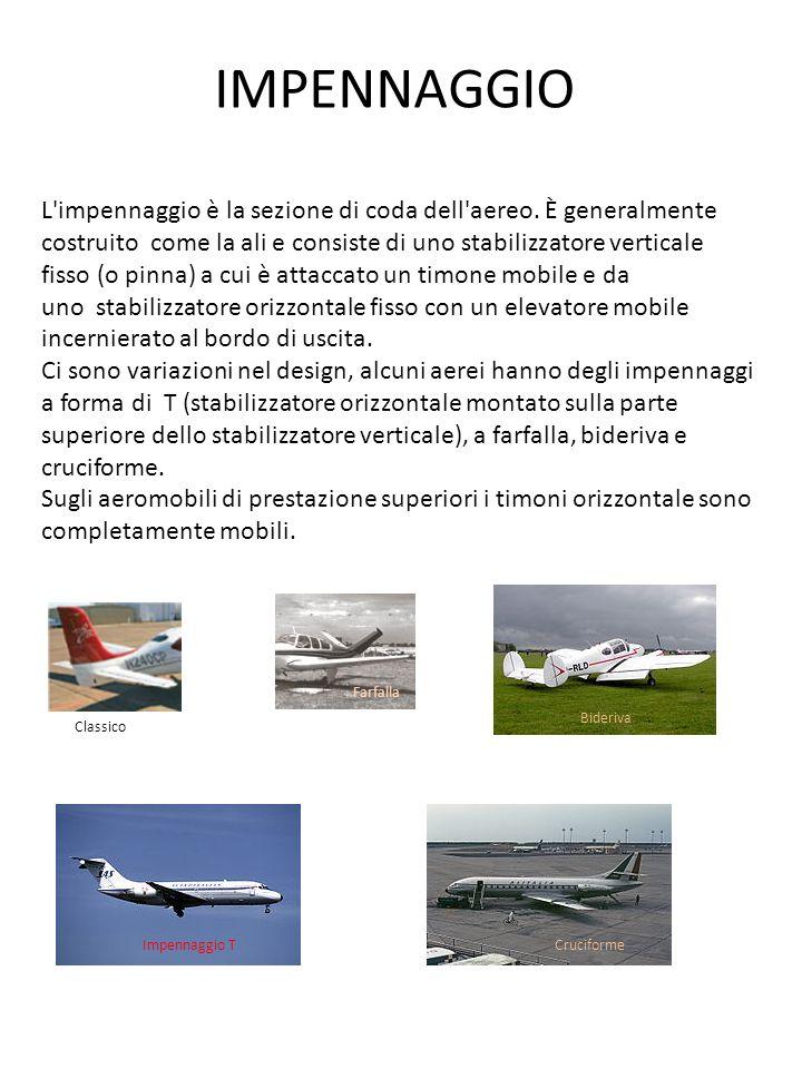 IMPENNAGGIO L'impennaggio è la sezione di coda dell'aereo. È generalmente costruito come la ali e consiste di uno stabilizzatore verticale fisso (o pi