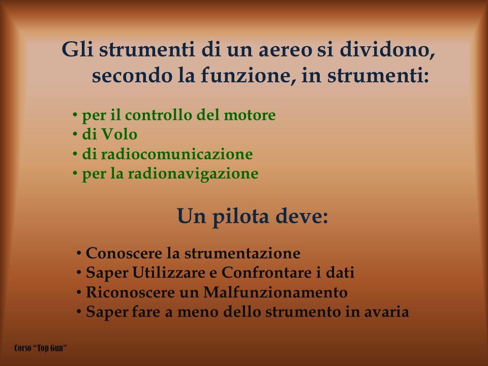 Gli strumenti di un aereo si dividono, secondo la funzione, in strumenti: per il controllo del motore di Volo di radiocomunicazione per la radionaviga