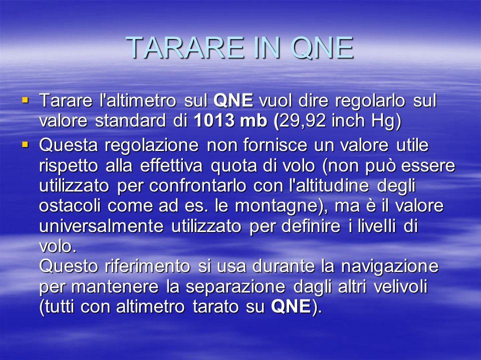 TARARE IN QNE Tarare l'altimetro sul QNE vuol dire regolarlo sul valore standard di 1013 mb (29,92 inch Hg) Tarare l'altimetro sul QNE vuol dire regol