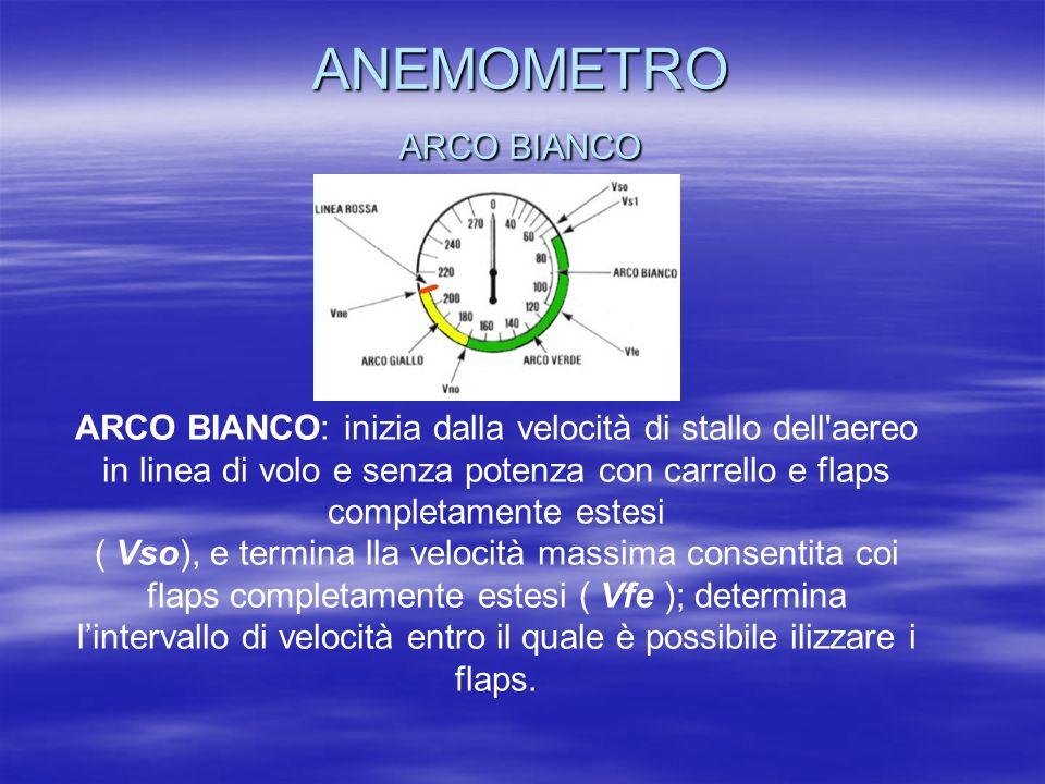ANEMOMETRO ARCO BIANCO ARCO BIANCO: inizia dalla velocità di stallo dell'aereo in linea di volo e senza potenza con carrello e flaps completamente est
