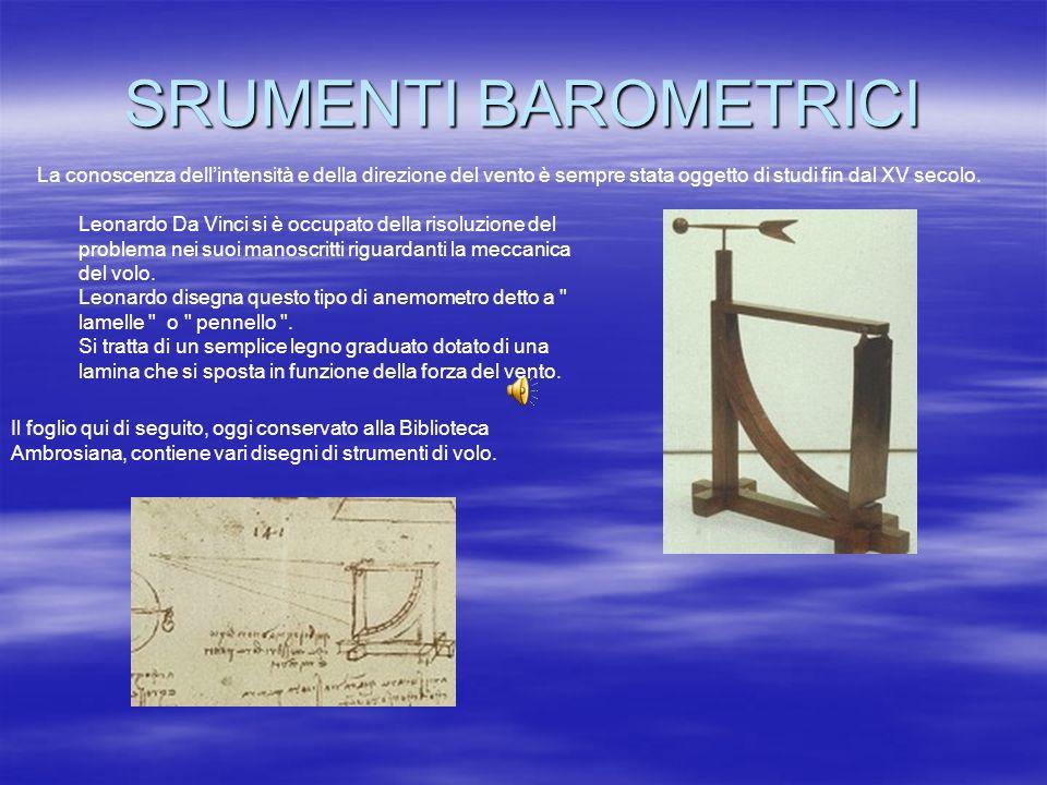 SRUMENTI BAROMETRICI La conoscenza dellintensità e della direzione del vento è sempre stata oggetto di studi fin dal XV secolo. Leonardo Da Vinci si è