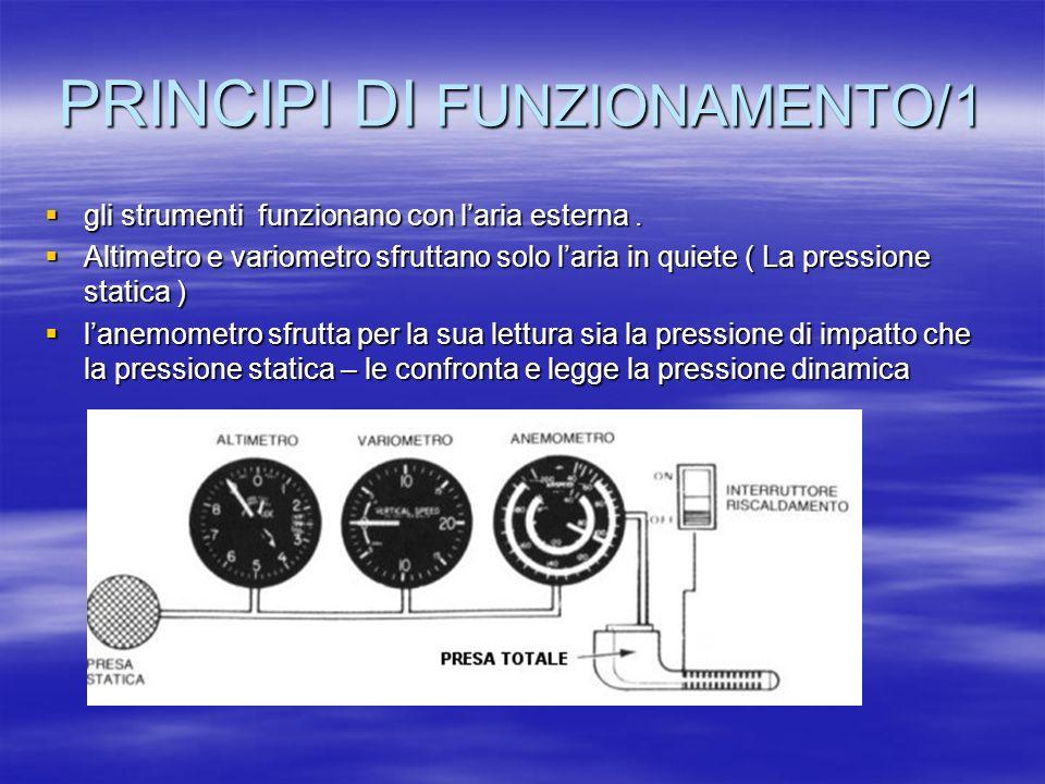 PRINCIPI DI FUNZIONAMENTO/2 Ogni aereo deve perciò avere almeno due prese; Ogni aereo deve perciò avere almeno due prese; una per la pressione statica, e una per la pressione totale.