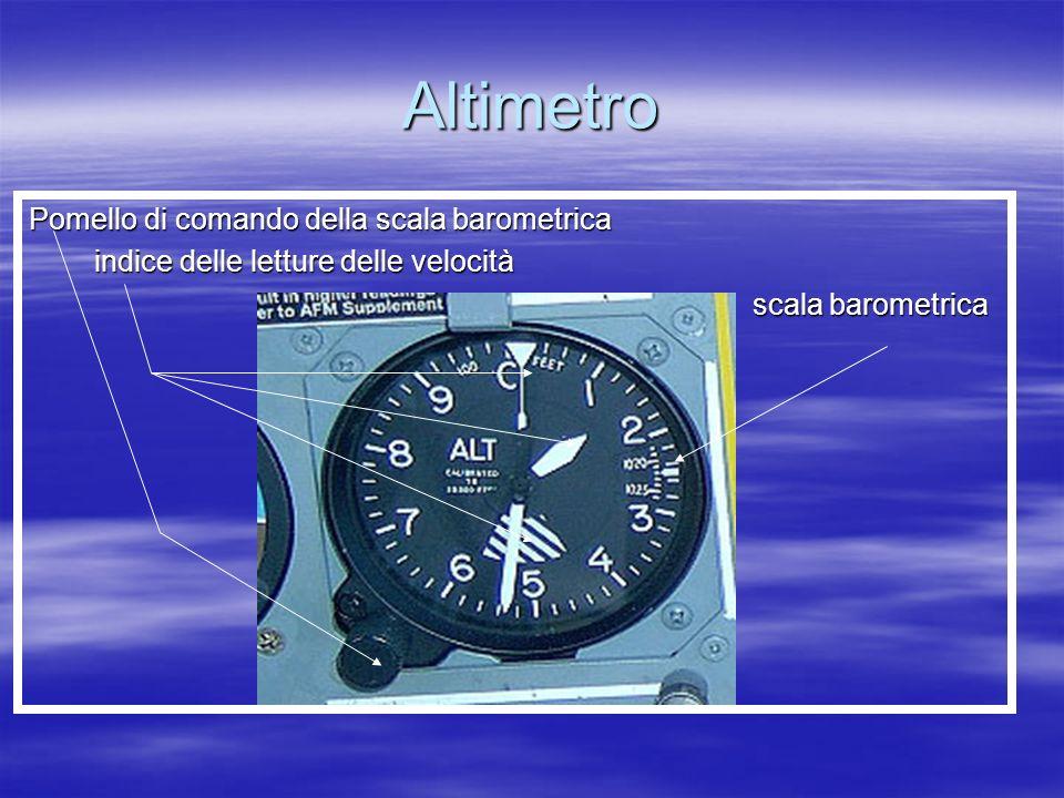 Altimetro Pomello di comando della scala barometrica indice delle letture delle velocità indice delle letture delle velocità scala barometrica scala b