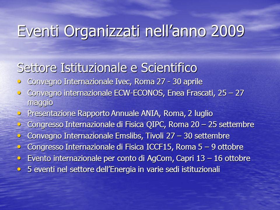Eventi Organizzati nellanno 2009 Settore Istituzionale e Scientifico Convegno Internazionale Ivec, Roma 27 - 30 aprile Convegno Internazionale Ivec, R