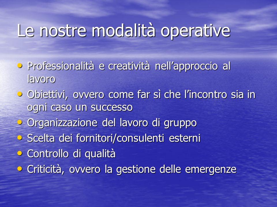 Le nostre modalità operative Professionalità e creatività nellapproccio al lavoro Professionalità e creatività nellapproccio al lavoro Obiettivi, ovve