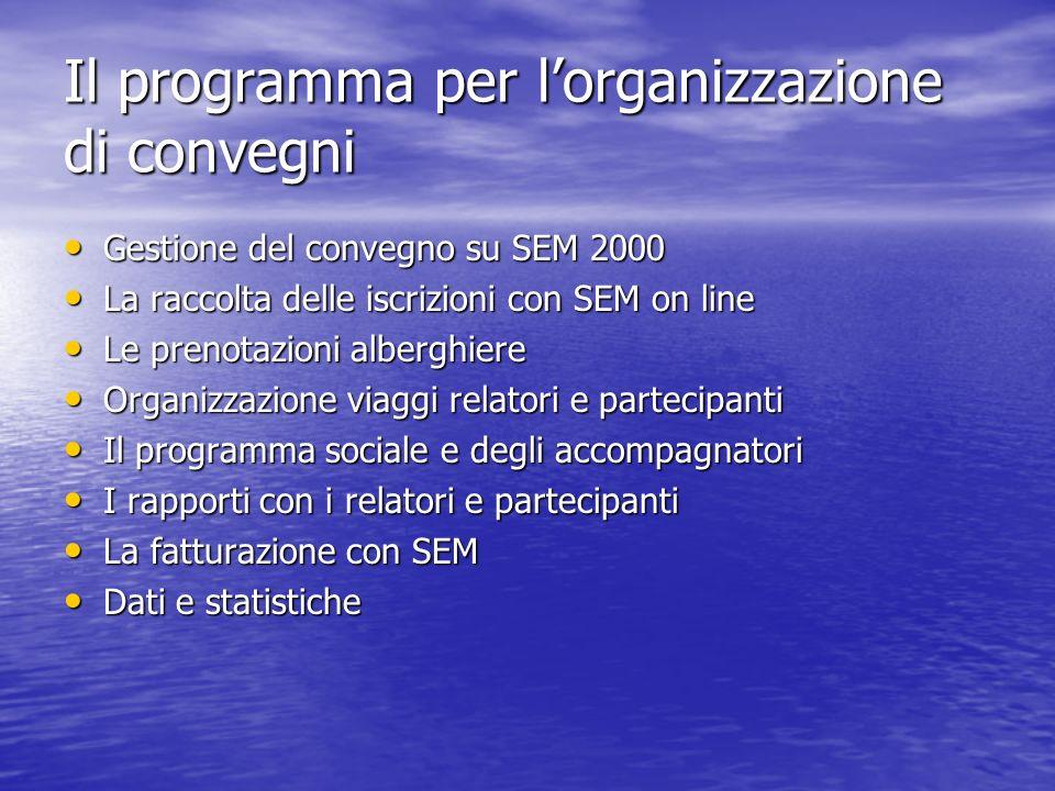 Il programma per lorganizzazione di convegni Gestione del convegno su SEM 2000 Gestione del convegno su SEM 2000 La raccolta delle iscrizioni con SEM